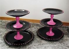 DIY Cupcake Stands; yellow plates with pink dots
