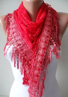 Red Shawl  Red Laced Fabric with Trim Edge by SwedishShop on Etsy, $17.90