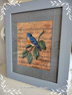 Framed Blue Bird Painting on Vintage Sheet by CelestinaMarieDesign