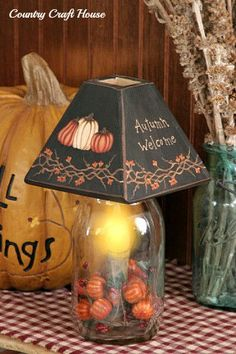 New Primitive Electric Jar Candle Light Lamp AUTUMN WELCOME Fall Pumpkin Pods #Country