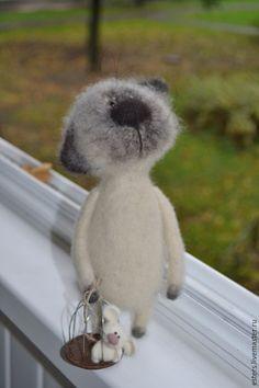 Купить Заказ для Елены - белый, кот, мышка, войлочный кот, коты, милый подарок