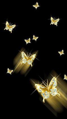 Brauche das in tat, Blue Butterfly Wallpaper, Gold Wallpaper, Butterfly Art, Wallpaper Backgrounds, Phone Screen Wallpaper, Cellphone Wallpaper, Iphone Wallpaper, Butterfly Pictures, Pretty Wallpapers