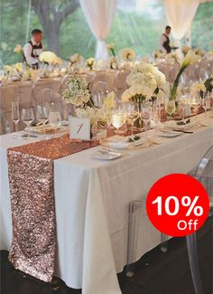 10% OFF Rose Gold Table Runners Party Sequin by WeddingbyShane
