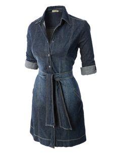 LE3NO Womens Casual Flared Button Down Chambray Denim Shirt Dress