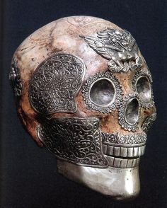 "Tibet Kapala - Monk Skull Offering Vessel - A kapala (Sanskrit for ""skull"") or skullcup is a cup made from a human skull used as a ritual implement (bowl) in both Hindu Tantra and Buddhist Tantra (Vajrayana)."