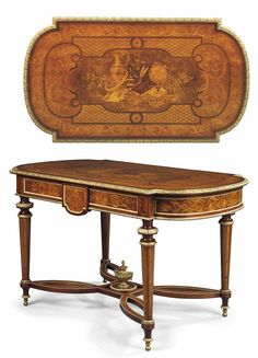 A MID-VICTORIAN ORMOLU-MOUNTED MAHOGANY, BURR-WALNUT AND STAINED-FRUITWOOD MARQUETRY CENTRE-TABLE - ATTRIBUTED TO HOLLAND & SONS, MID-19TH CENTURY.