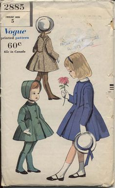 Vogue 1959© Coat and Leggings: Princess fitted coat buttons below shaped collar with detachable top collar. Side front concealed pockets. Long fitted sleeves. Regulation leggings have elastic casing across back waistline. Suspenders cross over at back.