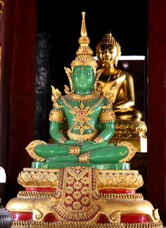 emerald buddha, which is actually made out of jade. It's dressed according to the appropriate season of the year, Bangkok Buddha Buddhism, Buddha Art, Buddha Quote, Thai Buddha Statue, Buddha Statues, Tibet, Buddhist Philosophy, Meditation, Deities