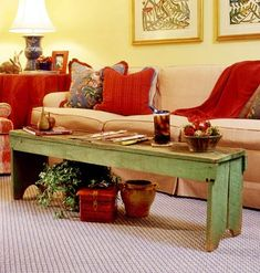 Bench coffee table idea for a smaller living room. I would get one in a different color