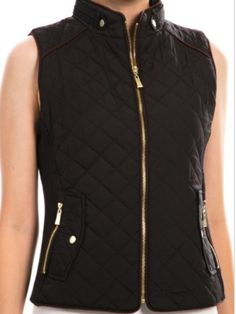 Piper Vest | Black  Quilted Zip Up Vest in Black from Sassy Shortcake Boutique
