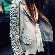 Balmain Leather Jacket look-book Balmain Leather Jacket, Studded Leather Jacket, Studded Denim, Grey Leather, Soft Leather, Rocker Chic, Christophe Decarnin, Estilo Rock, Women's Jackets