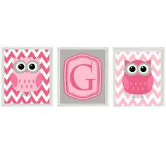 Owl Nursery Wall Art Print  Chevron Pink Gray by RizzleandRugee, $42.00