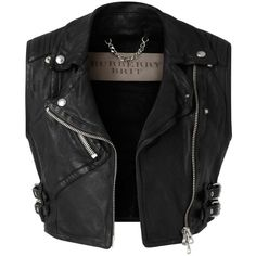 Burberry Cropped Leather Biker Waistcoat ($1,595) ❤ liked on Polyvore featuring outerwear, vests, jackets, tops, burberry, cropped leather vest, vest waistcoat, leather biker vest and zip vest