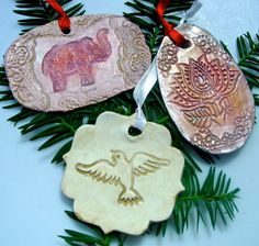 A beautiful set of handmade ceramic Christmas tree ornaments ($43)