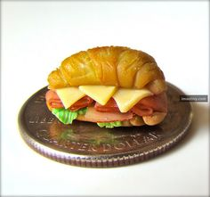 miniature food croissant sandwich! To bad it's made out of clay....