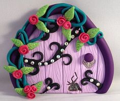 Polymer Clay Fairy Door  Purple and Black Swirl by MistsofAzura, £15.00