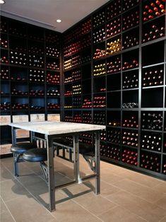 Sleek, clean and beautifully well-organised wine cellar
