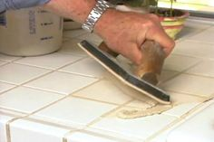 How to Replace Tile Grout in a Kitchen Countertop- Rental