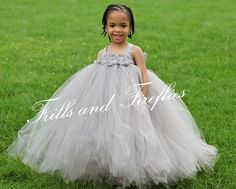 Gray Flower girl dress with Grey Shabby Chic Flowers by Frills and Fireflies, $65.00