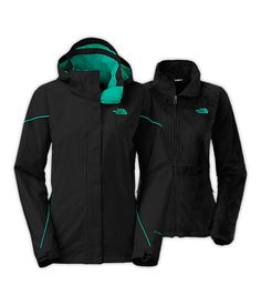 WOMEN'S BOUNDARY TRICLIMATE JACKET in TNF Black and Kokomo Green (OR Surf green and mid grey) Size XL