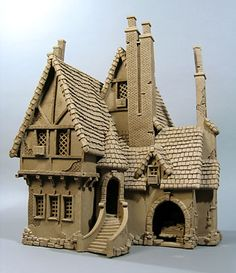 Built completely out of clay! Tudor House - Buildings - Gallery - John Brickels, Architectural Sculpture and Claymobiles, Essex Jct, Vermont Clay Houses, Ceramic Houses, Miniature Houses, Miniature Dolls, Cardboard Sculpture, Cardboard Art, Sculpture Clay, Tudor House, Casas Tudor
