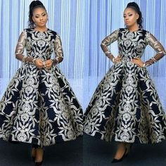 Load image into Gallery viewer, black prom dresses 2020 crew neckline long sleeve sparkly sequins sliver tea length ball gown prom dress evening dresses Modest Prom Gowns, Gold Prom Dresses, Ball Gowns Prom, Ball Dresses, Evening Dresses, Short Dresses, Latest African Fashion Dresses, African Dresses For Women, African Print Dresses