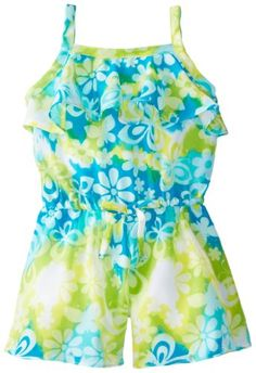 Youngland Little Girls' Tie Dye Waist Romper, Blue/Green, 3T   - Click image twice for more info - See a larger selection of girls jumpsuit at http://girlsdressgallery.com/product-category/girls-jumpsuit/- girl, girls, little girls, kids, kid, girls fashion, kids fashion, gift ideas, over all for girls, jumpers, jumpsuit, romper