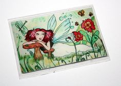 Summer Fairy Fantasy Art Magnet Refrigerator Magnet Fairy Art Fairy Illustration Fantasy Fairy Tale Magnet Dreamy Fairy Flowers Butterflies