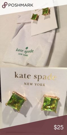 Never worn Kate Spade Peridot Earrings Square cut gold/peridot earrings. August birthstone. Perfect gift for yourself or someone you love who's having a birthday  in August. kate spade Jewelry Earrings