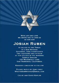 Blue Star Bar Mitzvah Invitation. #bar_mitzvah_invitations