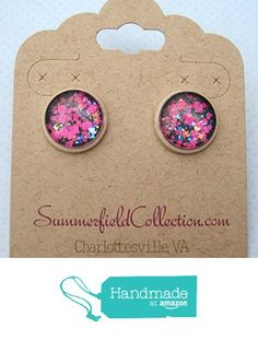 "Silver-Tone Charcoal Gray and Neon Pink Glitter Glass Stud Earrings 1/2"" Round from Summerfield Collection https://www.amazon.com/dp/B01C25DBFG/ref=hnd_sw_r_pi_dp_pK0Fxb3ZPVACM #handmadeatamazon"