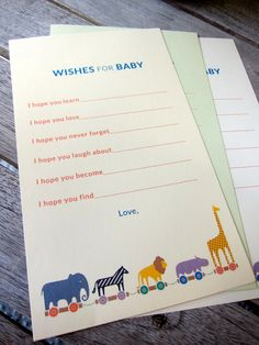 Baby shower activity: Wishes for Baby form. We designed this Noah's Ark-themed form for each guest to fill out. We also sent it to the mom-to-be's long-distance relatives, who couldn't attend. We collected all the responses, bound them together, and gave it to the mom-to-be as a keepsake.