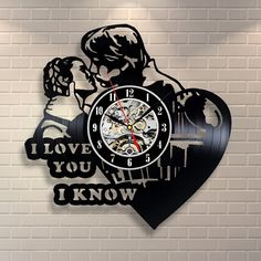 Princess Leia Han Solo I Love You Vinyl Record Clock Home Decor Wall Art >>> Check out this great product. (This is an affiliate link and I receive a commission for the sales)