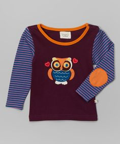Another great find on #zulily! Mauve Stripe Owl Organic Tee - Infant, Toddler & Girls by Origany #zulilyfinds