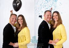 Gender reveal. Like the idea of having a black balloon with the color confetti in it!