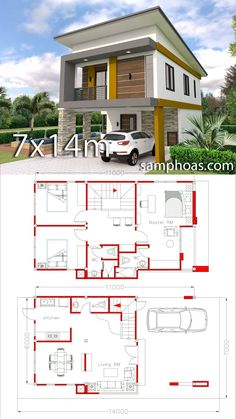 Small Home Design Plan with 3 Bedrooms - SamPhoas Plansearch Small Home Design Plan with 3 Bedrooms. This villa is modeling by SAM-ARCHITECT With 2 stories level. It's has 3 bedrooms.Simple Home Design Small House Floor Plans, Duplex House Plans, Dream House Plans, Modern House Plans, Simple House Design, Tiny House Design, Modern House Design, Small Home Design, 2 Storey House Design