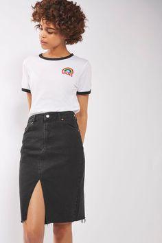 MOTO Midi Denim Skirt