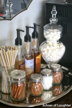 Make an at home barista bar. Cute and organized coffee supplies.