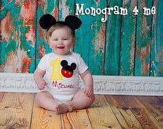 Boys 1st Birthday Mickey Mouse Snap Shirt, Snap tee, Bodysuit birthday outfit
