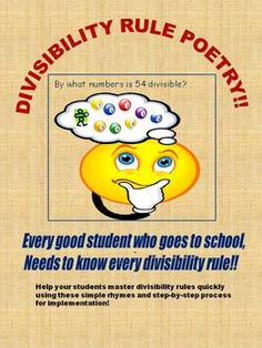 Here's a lesson plan and poem to help students learn divisibility rules.