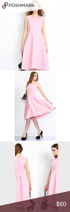 Pink dress with pockets Pink dress with pockets. It's labeled size L however it fits more like a M size. New with tags retail. Hwl boutique Dresses Midi