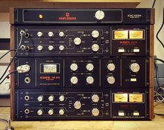 Hawk Towers. Heavy afternoon of testing. Top three are sold but the bottom stereo HR-45 unit will be ready to ship soon. All of them are 70s Japanese spring reverbs. Some give some serious overdriven distortion when pushed.