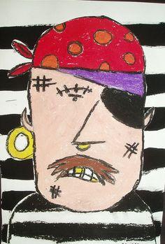 Pirates oil pastel portraits 3rd 4th grade art lesson project