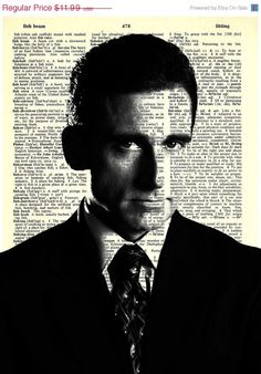 """Michael Scott - The Office Series -8x11"""" Print on Vintage repurposed paper - dictionary print"""