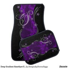 Deep Gradient Amethyst Floral and Marble Design Car Mat | Zazzle.com
