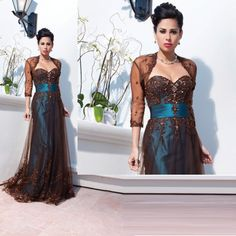 Custom Mother of Bride Bridesmaid Evening Party Prom Ball Gown Dress Free jacket