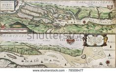 Old map of Elbe river and Hamburg port from the Atlas Appendix. Created by Willem Blaeu, published in Amsterdam, 1630 - stock photo