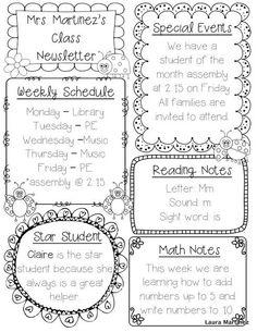 Classroom Schedule Template for Teachers | Editable Class Newsletter Template: