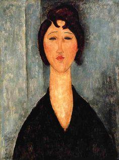 Amedeo Modigliani (12 juillet 1884 à Livourne, Italie - 24 janvier 1920 à Paris) est un peintre et un sculpteur italien rattaché à l'École de Paris. Peintre de figures, nus, portraits, sculpteur, dessinateur. Connu au départ comme un peintre figuratif, il est devenu célèbre par ses peintures et ses sculptures de facture dite modernes où les visages ressemblent à des masques et où les formes sont étirées.
