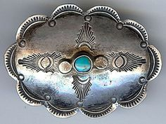 HANDSOME VINTAGE NAVAJO INDIAN STAMPED SILVER & TURQUOISE CONCHO PIN